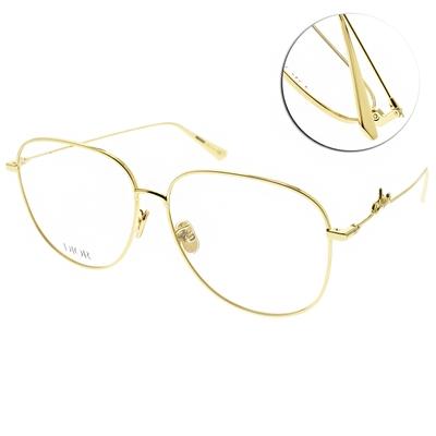 DIOR光學眼鏡 流線簍空圓框款/金#SIGNATURE O AU A000