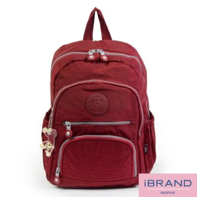 iBrand後背包 繽紛樂園尼龍多口袋後背包-魅力紅