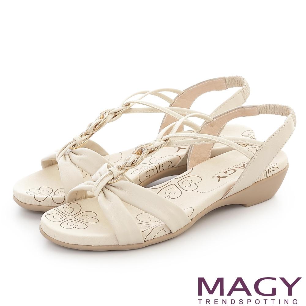 MAGY 圓形鑽飾牛皮編織平底涼鞋 米色