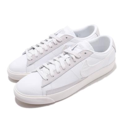 Nike 休閒鞋 Blazer Low Leather 男女鞋 經典款 情侶穿搭 皮革 簡約 球鞋 白 米白 CW7585100