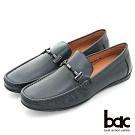 【bac】時尚樂活 精點裝飾真皮帆船鞋-藍色