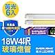 【Everlight 億光】6入組-T8玻璃燈管 18W 4呎(黃光 ) product thumbnail 1