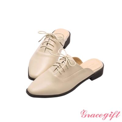 Grace gift-牛津綁帶低跟穆勒鞋 米白
