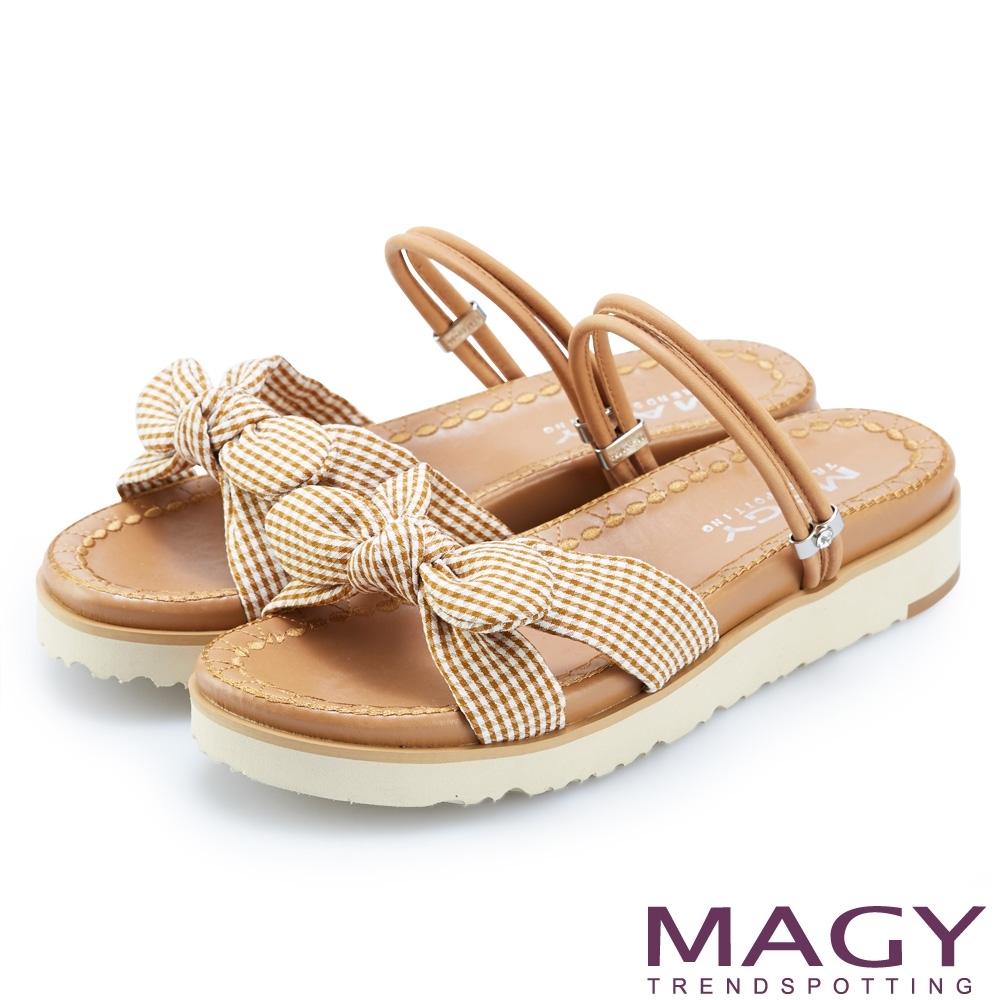 MAGY 格紋布面牛皮兩穿平底 女 涼拖鞋 棕色