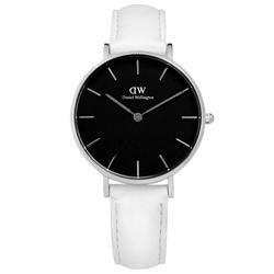 DW Daniel Wellington 經典真皮手錶-黑x白/32mm