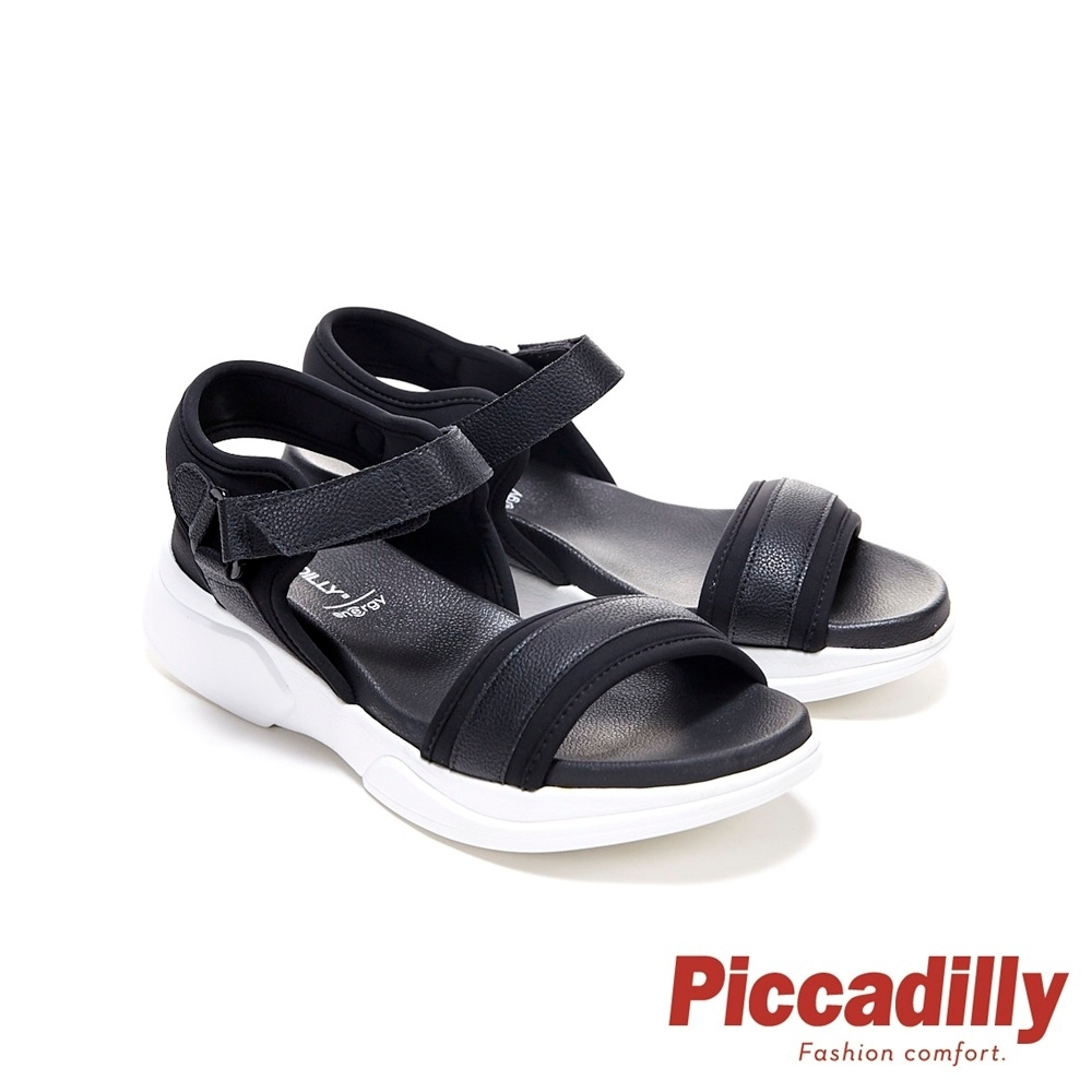 Piccadilly 寬帶素面皮革彈性休閒 坡跟涼鞋 黑(另有米白)