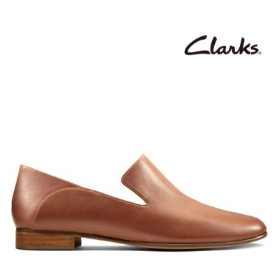 Clarks 純甄品味-全真皮柔軟舒適樂福鞋 棕褐色