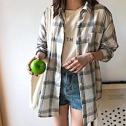 韓國空運 配色長版條紋襯衫-3色-TMH