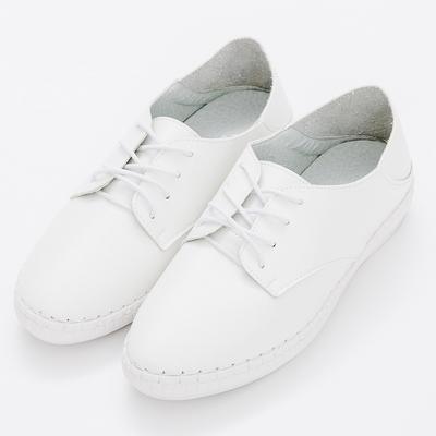 River&Moon中大尺碼-韓版超軟縫線繫帶可後踩小白鞋