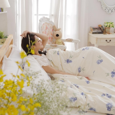 BUHO 4.5x6.5尺單人精梳純棉被套(夏日玫瑰-藍)