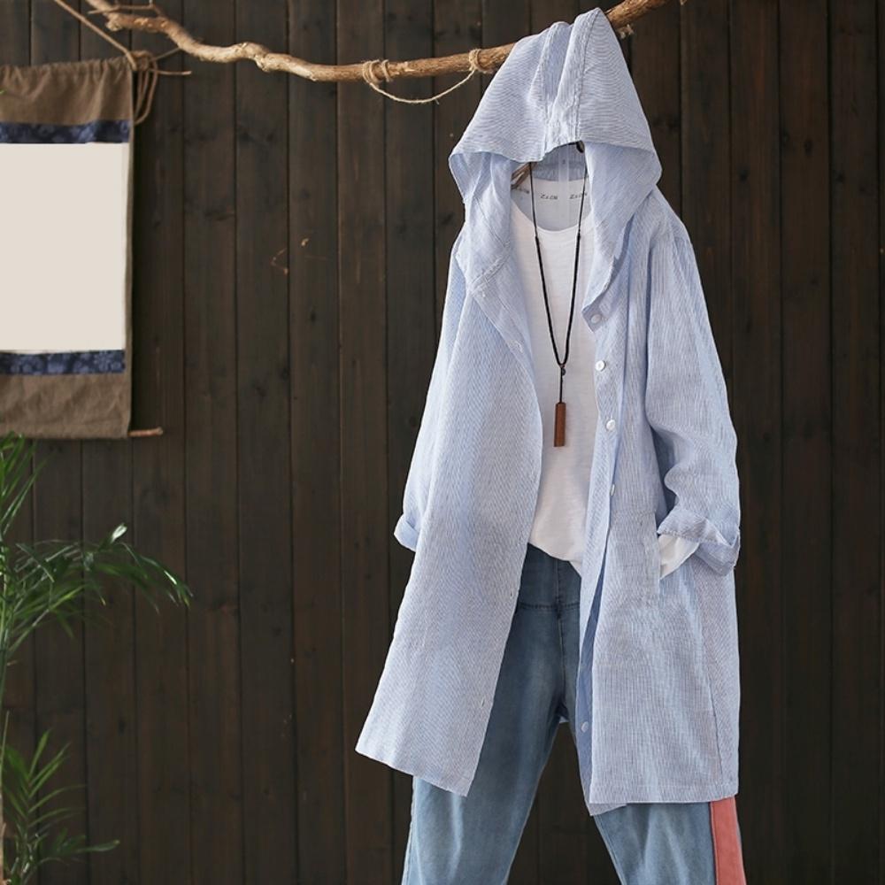 寬鬆棉麻連帽條紋襯衫文藝開衫外套長袖防曬衣-設計所在