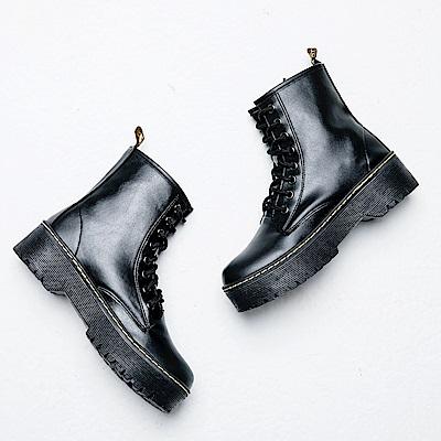 River&Moon馬丁靴-街拍潮流繫帶拉鍊厚底靴-黑