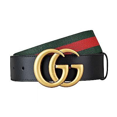 GUCCI經典雙G LOGO綠紅綠織帶牛皮金扣皮帶(黑)