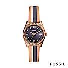 FOSSIL SCARLETTE MINI 米x藍x駝色復古條紋鑲鑽皮革女錶