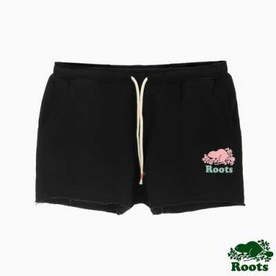 女裝Roots 炫彩霓虹休閒短褲-黑色