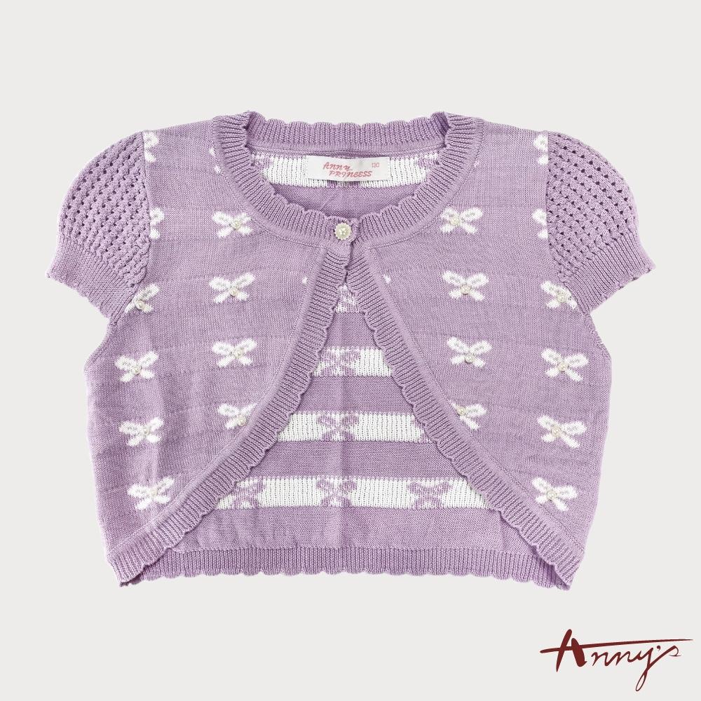 甜美珍珠蝴蝶結公主袖小外套*4189紫