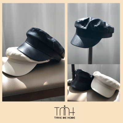 TMH-韓國空運 質感皮革 素面貝蕾帽-2色