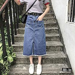 Jilli-ko 韓版高腰寬鬆牛仔A字裙- 深藍/淺藍