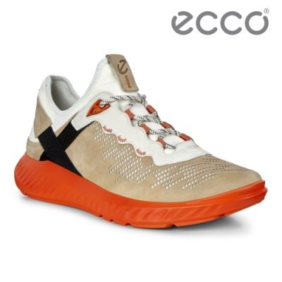 ECCO ST.1 LITE M 拼接撞色運動休閒鞋 男-駝棕/亮眼橘
