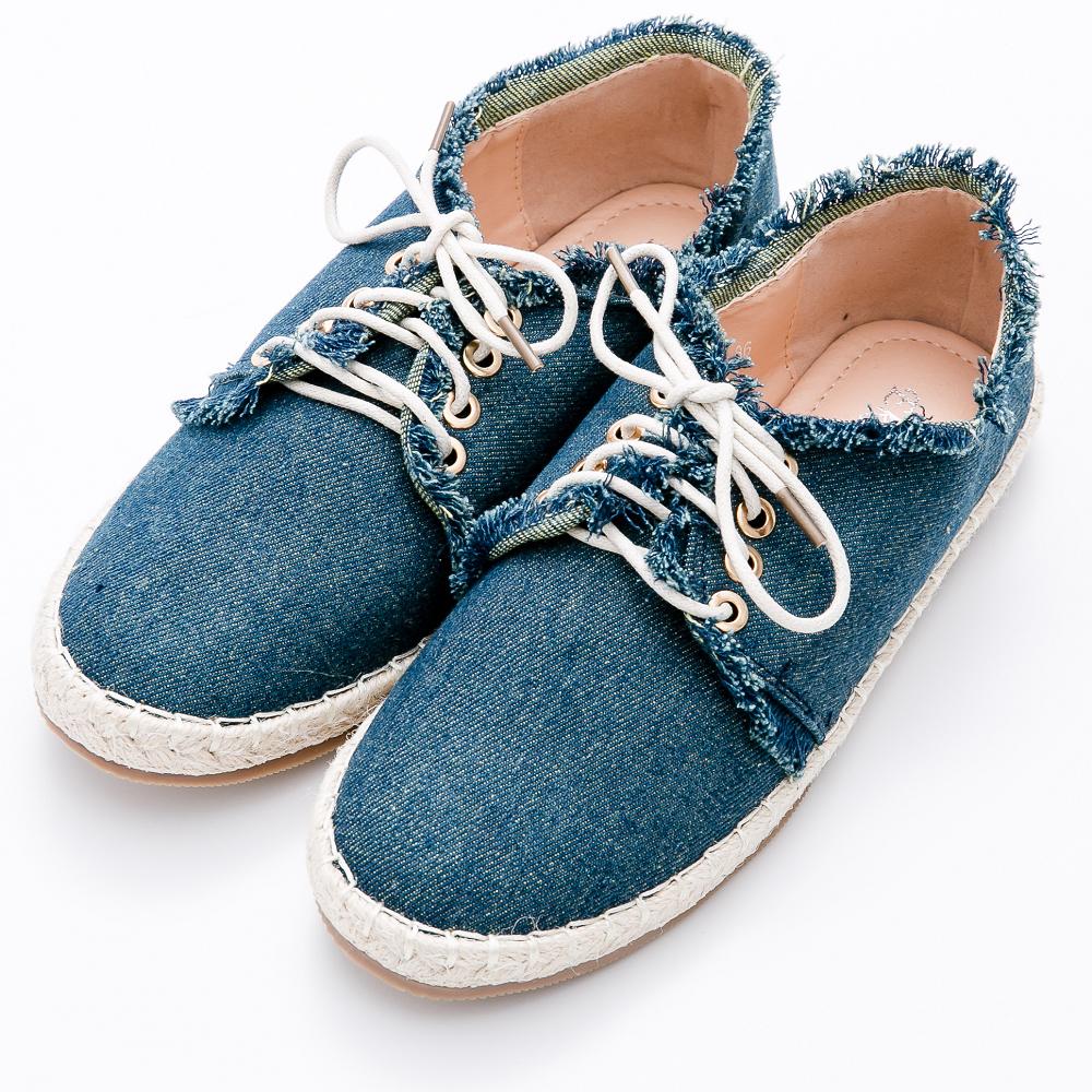 River&Moon休閒鞋-率性抽鬚單寧繫帶麻編鞋-藍 @ Y!購物