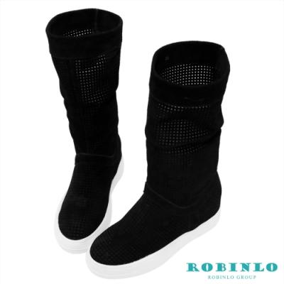 Robinlo 進口沖孔牛絨平底中長靴 黑色