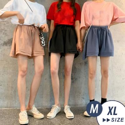 【LANNI 藍尼】 韓版雙層雪紡鬆緊A字裙褲-3色+