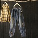 水洗做舊破洞刺繡寬鬆牛字顯瘦哈倫九分褲-設計所在