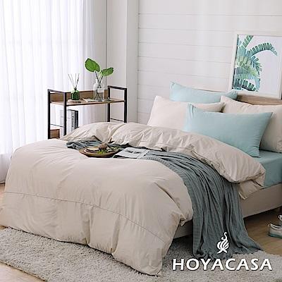 HOYACASA時尚覺旅 雙人300織長纖細棉被套床包四件組-清新米綠