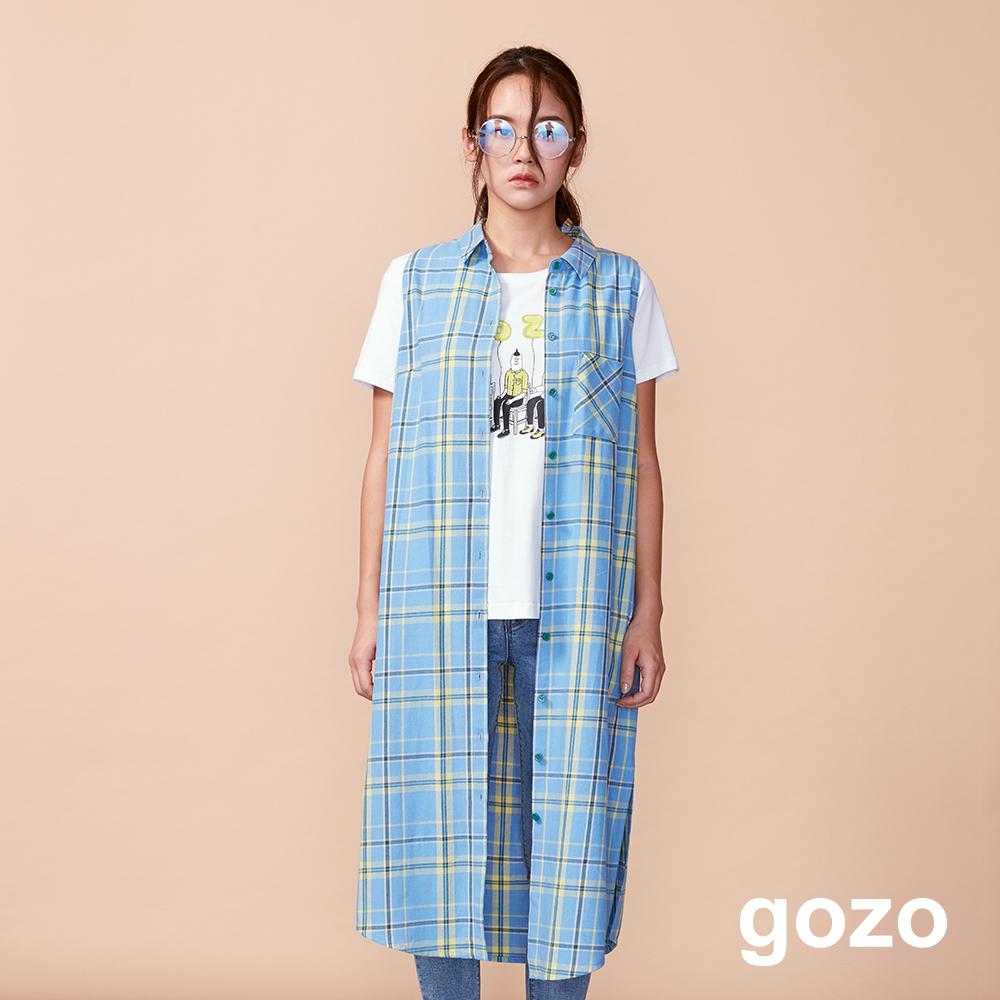 gozo 配色格紋無袖襯衫洋裝(淺藍)