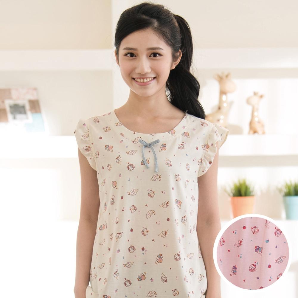 華歌爾 Pretty Amy 夏日樂趣印花 M-L 短袖家居服(粉藍)