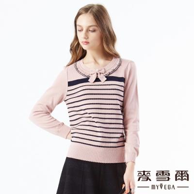 【麥雪爾】領口荷葉花邊緹花針織衫-粉