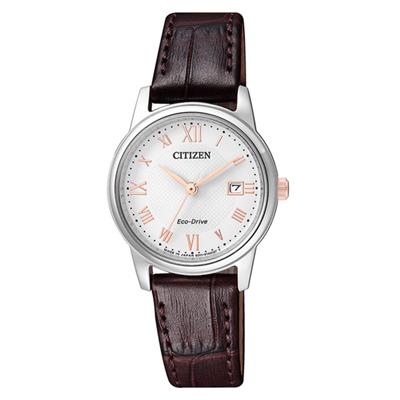 CITIZEN Eco-Drive 相聚時刻光動能時尚女錶-咖啡X銀EW2314-15A
