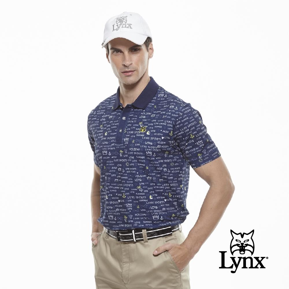 【Lynx Golf】男款吸濕排汗蛀蟲紗滿版印花短袖POLO衫-深藍色