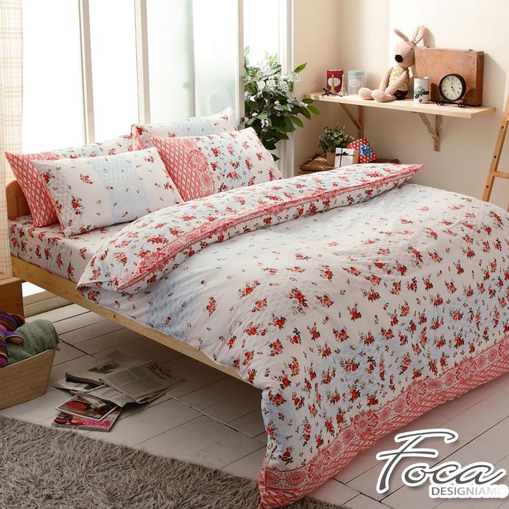 FOCA秋思-加大-100%精梳純棉四件式兩用被床包組