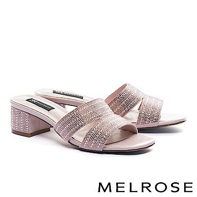 拖鞋 MELROSE 雙色排鑽羊麂皮高跟拖鞋-粉