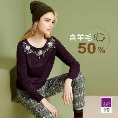 ILEY伊蕾 手縫立體花卉貼布繡針織上衣(紫)