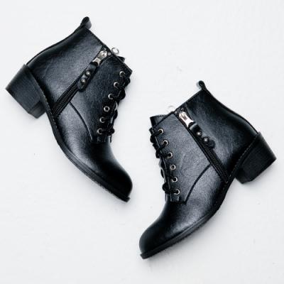 River&Moon短靴-超纖軟皮繫帶雙拉鍊粗跟短靴 黑