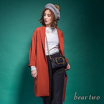 beartwo 大翻領落肩長版修身風衣外套(2色)