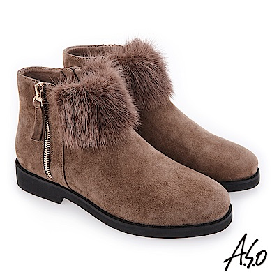 A.S.O 夢幻主義 異材質拼接毛球裝飾靴 灰褐
