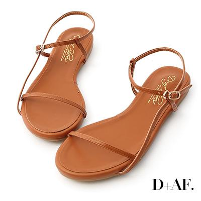 D+AF 清新獨特.一字側線繫踝平底涼鞋*棕