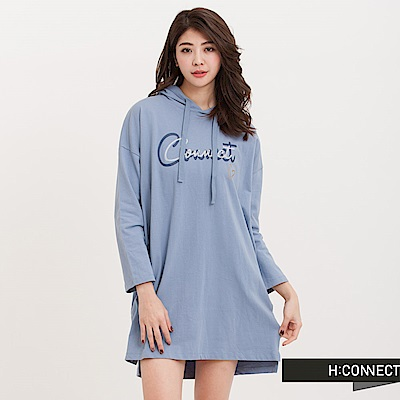 H:CONNECT韓國品牌女裝-CONNECT寬袖連帽T-Shirt-藍(快)