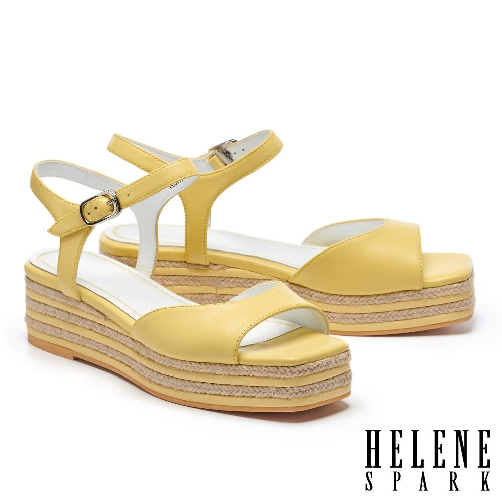 涼鞋 HELENE SPARK 簡約清新羊皮厚底涼鞋-黃