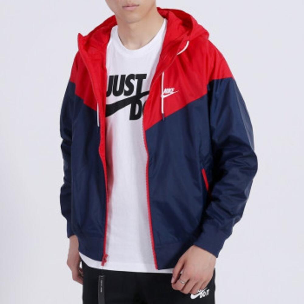NIKE M NSW HE WR JKT HD 男 連帽風衣外套 藍紅-AR2192410