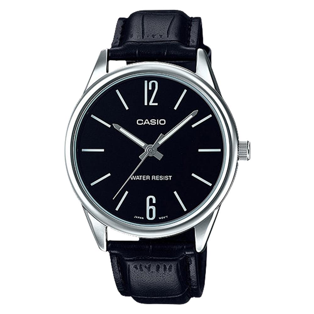 CASIO 簡約風範數字時刻皮帶腕錶(MTP-V005L-1B)-黑/40mm