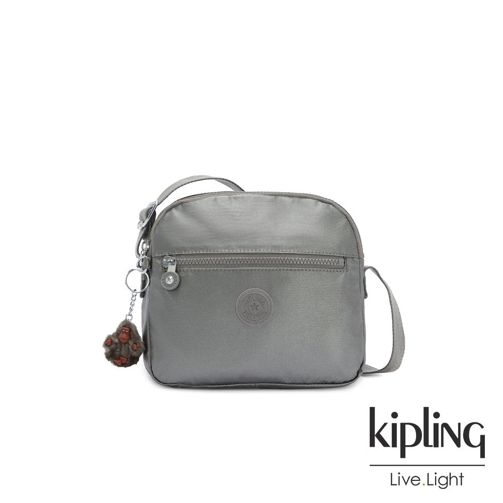Kipling 寧靜月光灰多層隨身斜背包-KEEFE