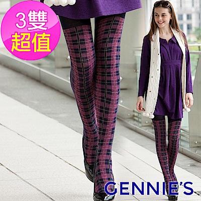Gennies專櫃-3入組*時尚格紋彈性棉孕婦專用褲襪(粉格)GM71