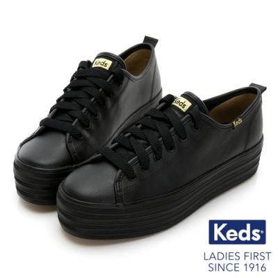 Keds TRIPLE UP 小心機厚底皮革綁帶休閒鞋-黑