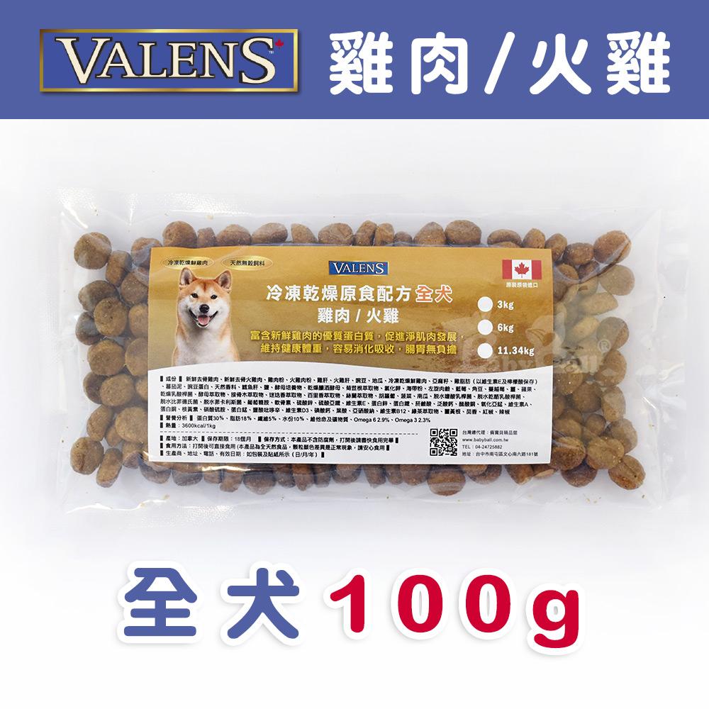 【VALENS威倫】全犬-冷凍乾燥原食配方-雞肉/火雞 外出包100g
