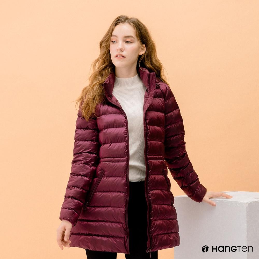 Hang Ten-女裝-恆溫多功能-ECO BALL-再生代絨長版連帽外套-紫紅色