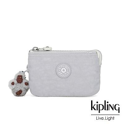 Kipling 知性淺灰撞色三夾層配件包-CREATIVITY S
